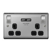 BG NBS22U3B-01 Brushed Steel 13A 2 Gang Switched Socket + USB - Black