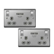 BG NBS22U3G01PK2 Brushed Steel 13A 2 Gang Switched Socket + USB - Grey PK2