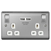 Brushed Steel 13A 2 Gang Switched Socket + USB - White