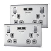 BG NBS22UACG01 NEXUS Metal Brushed Steel Double Switched 13A Socket With USB Charging - (4.2A) (Grey Insert)