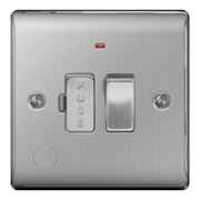 BG NBS53-01 Brushed Steel 13A Fused Connection Unit Switched with Neon & Flex Outlet