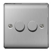BG NBS82P-01 Brushed Steel 400W 2 Gang 2 Way Push Dimmer