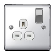 BG NPC21W-01 Chrome 13A 1 Gang Double Pole Switched Socket - White