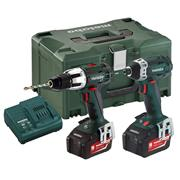 Metabo COMBOSET213 18v 2 Piece Kit with 2 x 4Ah Batteries, Charger and Case