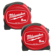 Milwaukee 48227706PK2 Slimline S5/25 Tape Measure 5m - Pack of 2