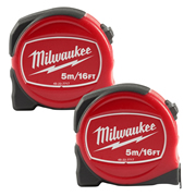 Milwaukee 48227717PK2 Slimline S5-16/25 Tape Measure 5m/16ft - Pack of 2