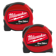 Milwaukee 48227726PK2 Slimline S8-26/25 Tape Measure 8m/26ft - Pack of 2