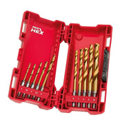 Milwaukee 4889759 Milwaukee Red Hex Shockwave HSS TiN Metal 10 Piece Drill Bit Set