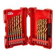 Milwaukee 4889760 Milwaukee Red Hex Shockwave HSS TiN Metal 19 Piece Drill Bit Set