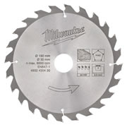 Milwaukee 4932430430 Milwaukee 190mm 24 Tooth Circular Saw Blade