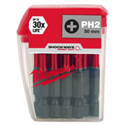 Milwaukee 4932430855 Milwaukee PH2 50mm Shockwave Impact Screwdriver Bit Box - Pack of 10