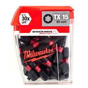 Milwaukee 4932430873 Milwaukee TX15 25mm Shockwave Impact Screwdriver Bit Box - Pack of 25