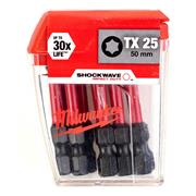 Milwaukee 4932430882 Milwaukee TX25 50mm Shockwave Impact Screwdriver Bit Box - Pack of 10