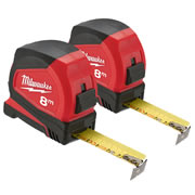 Milwaukee 4932459594PK2 Milwaukee 8m Pro Compact Tape Measure C8/25 Twinpack