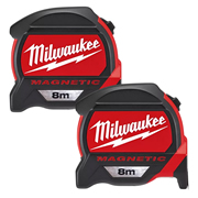 Milwaukee 4932464600PK2 Magnetic Tape Measure 8m Metric - Pack of 2