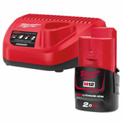 Milwaukee 4933451901 Milwaukee 12v charger + 2.0Ah Battery Kit