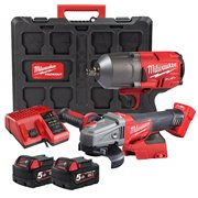 Milwaukee M18FPP2J2-502P Milwaukee M18FPP2J2-502P 18V FUEL Twin Pack with 2x 5Ah Batteries, Charger and Case