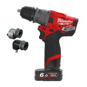 Milwaukee M12FPDXKIT-602X 12v M12 FUEL Combi Drill with 2 x 6Ah Batteries, Charger and Case with Removeable Chuck