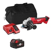 Milwaukee HD18AGITS 18v M18 115mm Grinder with 1 x 4Ah Battery, Charger and Bag