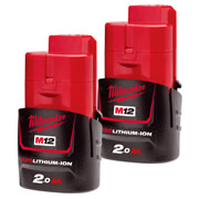 Milwaukee M12B2PK2 12V 2.0Ah Red Lithium Battery (Twinpack)