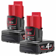Milwaukee M12B4PK2 Milwaukee 12v 4.0 Li-ion Battery Twinpack