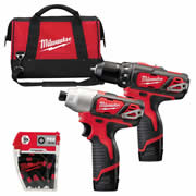 Milwaukee M12 BDID KIT Milwaukee 12v RED Li-ion Compact 2 Piece Kit