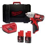 Milwaukee M12BIW38-202C 12v M12 3/8'' Impact Wrench with 2 x 2Ah Batteries, Charger and Case