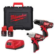 Milwaukee M12BPP2202C 12v M12 2 Piece Kit with 2 x 2Ah Batteries, Charger and Case