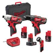 Milwaukee M12BPP2B-421C 12v M12 2 Piece Kit with 1 x 4Ah and 1 x 2Ah Batteries, Charger and Case