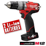 Milwaukee M12CPD402C Milwaukee 12V Fuel 4.0Ah Lithium-ion Cordless Brushless Hammer Drill/Driver
