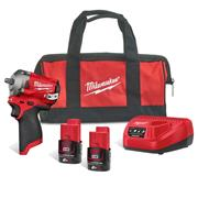 Milwaukee M12FIW38-202B Milwaukee M12 FIW38-202B 12v Fuel Impact Wrench Set, with 2 x 2Ah batteries, Charger and Bag