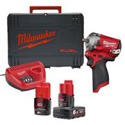 Milwaukee M12FIW38-622X 12v M12 FUEL 3/8'' Impact Wrench with 1 x 6Ah and 1 x 2Ah Battery, Charger and Case