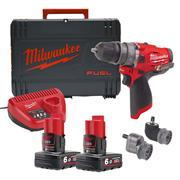 Milwaukee M12FPDXKIT-602X 12v M12 FUEL Combi Drill with 2 x 6Ah Batteries, Charger and Case