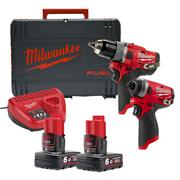 Milwaukee M12FPP2A-602X 12v M12 FUEL 2 Piece Kit with 2 x 6Ah Batteries, Charger and Case