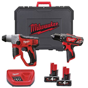 Milwaukee M12SET2F-402C Milwaukee Cordless 12v Li-ion 2 Piece Powerpack Kit
