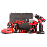 Milwaukee M12SET2F-402CPKB Milwaukee Cordless 12v Li-ion 3 Piece Powerpack Kit