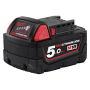 Milwaukee M18B5 18v Red-Lithium 5.0Ah Battery