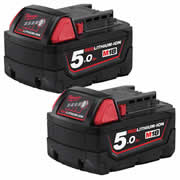 Milwaukee M18B5 Milwaukee Pack of 2 18v Red-Lithium 5.0Ah Batteries