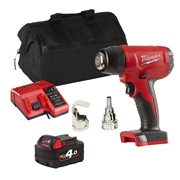 Milwaukee M18BHGITS Milwaukee M18 BHGITS 18V M18 Heat Gun with 1 x 4Ah Battery, Charger and Bag