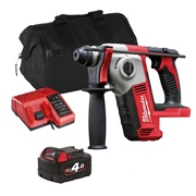 Milwaukee M18BHITS Milwaukee M18 BHITS 18V M18 SDS+ Drill with 1 x 4Ah Battery, Charger and Bag