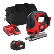 Milwaukee M18BJSITS 18v M18 Jigsaw with 1 x 4Ah Battery, Charger and Bag