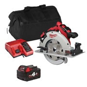 Milwaukee M18BLCS66ITS 18v M18 Brushless 190mm Circular Saw with 1 x 4Ah Battery, Charger and Bag