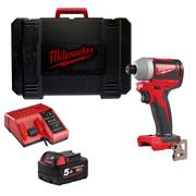 Milwaukee M18BLID2 Milwaukee M18 BLID2 M18 BLID2-0 Brushless Impact Driver with 1 x 5Ah Battery, Charger and Case