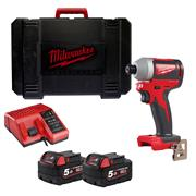 Milwaukee M18BLID2 M18 BLID2-0 Brushless Impact Driver with 2 x 5Ah Batteries, Charger and Case