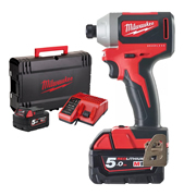 Milwaukee M18BLID2-502X 18v M18 Brushless Impact Driver with 2 x 5Ah Batteries, Charger and Case