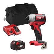 Milwaukee M18BLID2XITS Milwaukee M18 BLID2XITS 18V M18 Brushless Impact Driver with 1 x 4Ah Battery, Charger and Bag