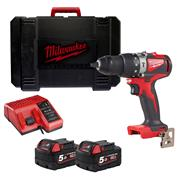 Milwaukee M18BLPD2502 M18 Brushless Combi Drill with 2 x 5Ah Batteries, Charger and Case