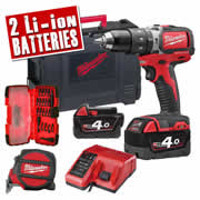Milwaukee M18BLPD402CA Milwaukee 18V Li-ion Brushless Hammer Drill Driver Kit - 2 x 4.0Ah Batteries