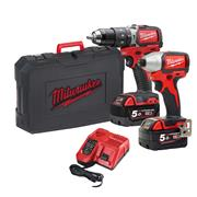 Milwaukee M18BLPP2A2-502X 18v M18 Brushless 2 Piece Kit with 2 x 5Ah Batteries, Charger and Case
