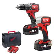 Milwaukee M18BLPP2A402CC 18v M18 Brushless 2 Piece Kit with  2 x 4Ah Batteries, Charger, and Case